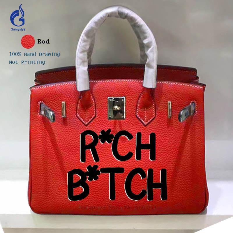 Gamystye Customize Bag Art Hand Drawing Graffiti Letter Togo Leather Luxury Handbags Women Bags Designer Ladies Messenger bags