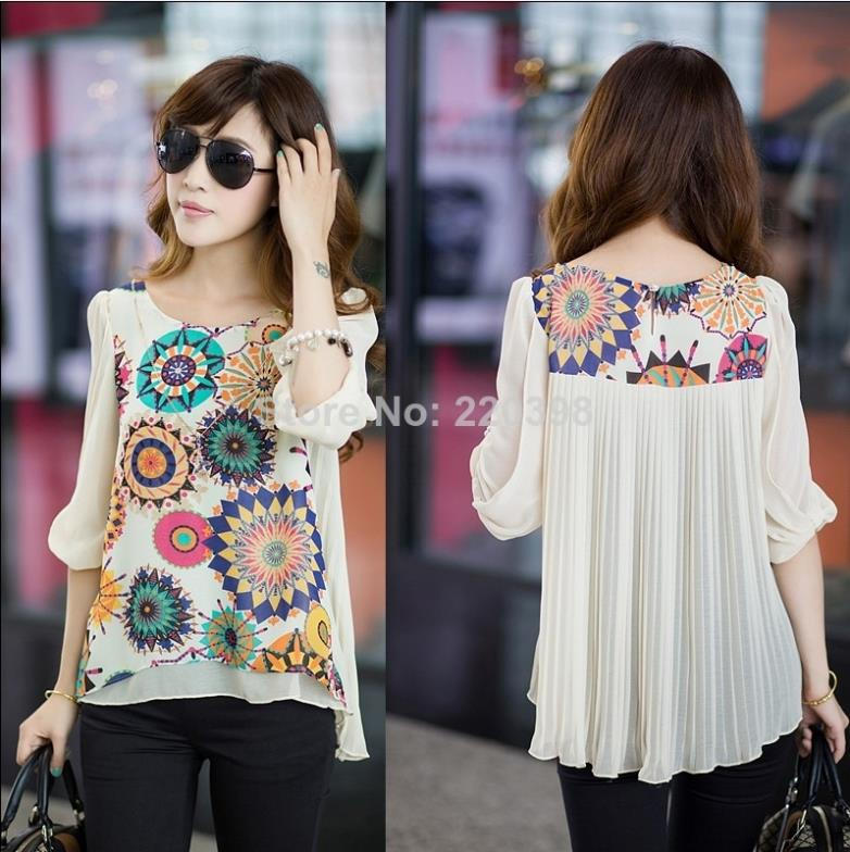 New 2014 Hot Fashion Summer Loose Women's Print Short-sleeve Chiffon Flower Blouses Women Casual Plus size Shirt Top XXXXL 6675