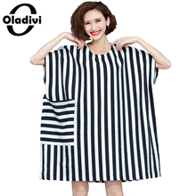 Extra Plus Size Clothing Fashion Striped Women Dress Oversized Casual Loose Shirt Blouse Femme Gown Dress Casual Vestidos Blusas