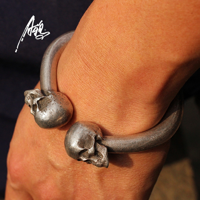 Image 4 - Vintage Skull Bracelet Heavy Quality Design 80*78mm Skeleton Bangle Men Man Male Punk Rock  S925 Jewelry Personality Present DHL-in Charm Bracelets from Jewelry & Accessories