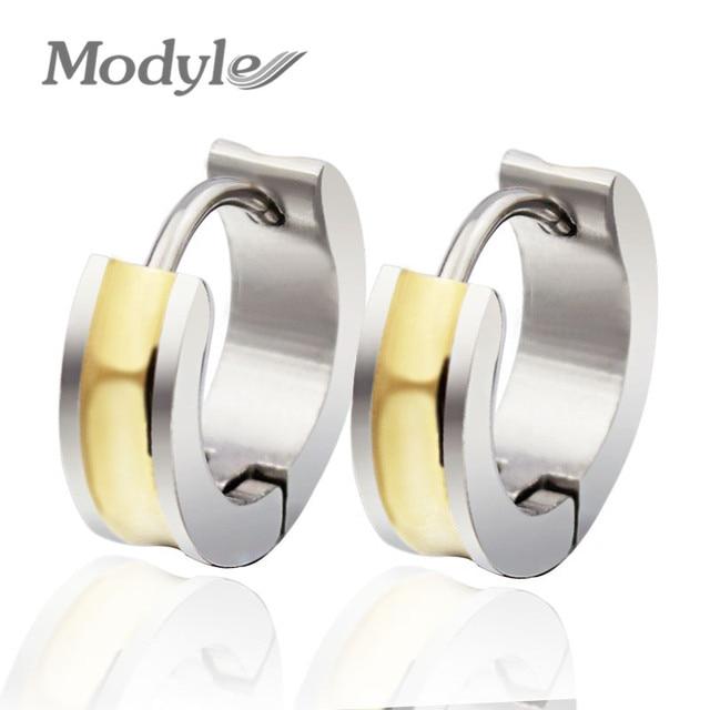 2018 Por Hip Hop Bling Stud Stainless Steel Earring Brand Geometric Gold Color Earrings