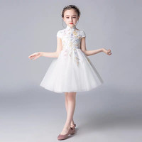 2019Summer Luxury Chinese Style Children Girls Embroidery Flowers Piano Host Pageant Cheongsam Dress Baby Toddler Birthday Dress