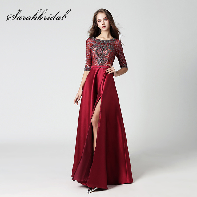 New Gorgeous Burgundy Celebrity Dresses with Luxury Beading Evening Dress Sexy V Back Side Slit Formal Pageant Party Gowns OL448