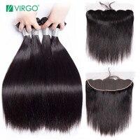 Volys Virgo Straight Hair Bundles With Closure Peruvian Hair Bundles Human Hair Remy Lace Frontal Closure With Bundles 3 4 pcs