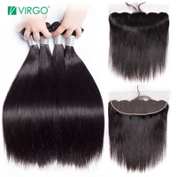 Volys Virgo Straight Hair Bundles With Closure Peruvian Hair Bundles Human Hair Remy Lace Frontal Closure With Bundles 3 4 pcs