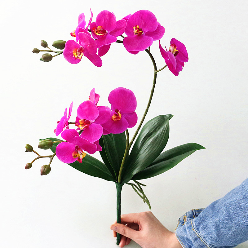 Flone Artificial Butterfly Orchid With Leaves Flower Real Touch Flowers Simualtion Plants Wedding Home Office Party Decor Artificial Butterfly Orchid Butterfly Orchidartificial Orchid Aliexpress