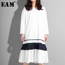 [EAM] 2019 New Autumn Summer Round Neck Long Sleeve Hit Color Hem Pleated Split Joint Loose Dress Women Fashion Tide ASW00 army green oversized round neck pleated hem mini dress