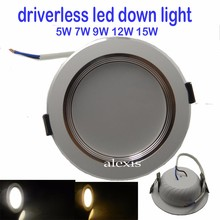 1pcs/lot LED Downlight CE Driverless 220V dimmable 5W/7W/9W down light led Free shipping