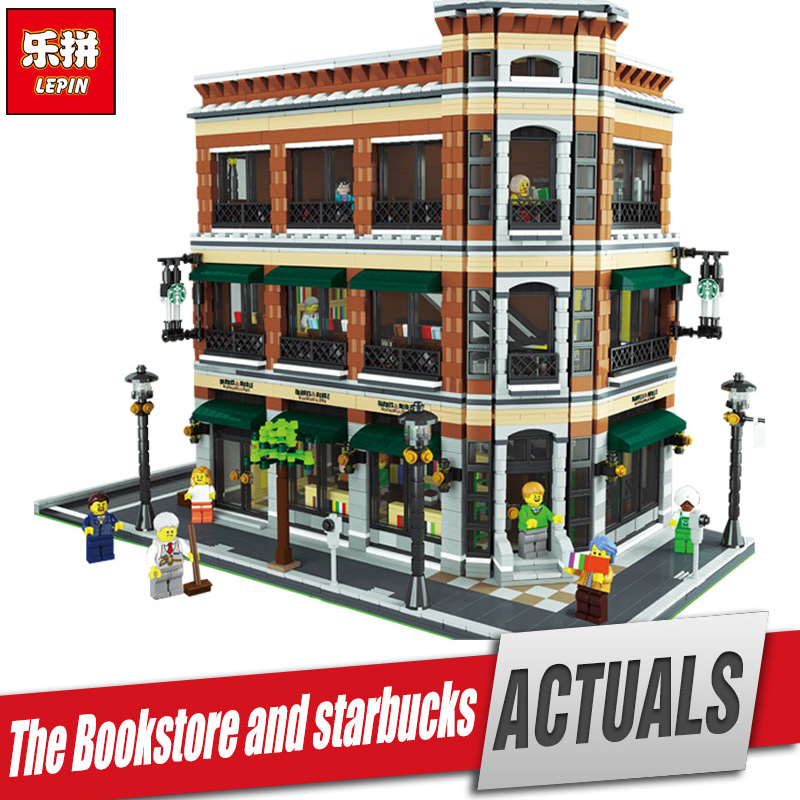 LEPIN 15017 4616Pcs City Street Starbucks Bookstore Cafe Model Educational Building Kit  Blocks Bricks Compatible Funny Toy lepin 15009 city street pet shop model building kid blocks bricks assembling toys compatible 10218 educational toy funny gift