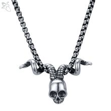 ZS Punk Horn Pendant Necklaces Male Skull Necklace for Men Stainless Steel Jewelry Women Cool Fashion Neck