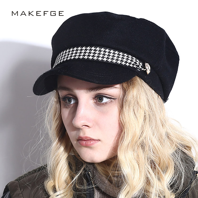 2018 spring Military Hat Winter Knitted Cap Flat Top Hats For Women Black Grey Male Female Casquette Militaire Gorra Plana