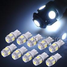 10pcs/lot 24V 5SMD LED 5050 T10 194 147 W5W Width Reading License Plate Light Backup Lamp Super Bright White