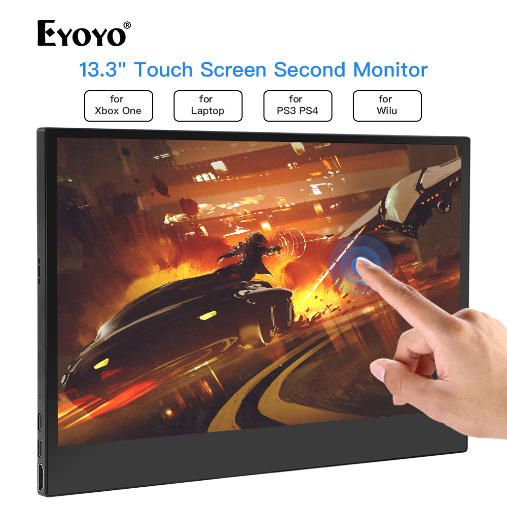 "Eyoyo 13.3"" Portable 1920x1080 IPS Gaming Monitor compatible for Game Consoles PS3 PS4 WiiU Switch USB Monitor Mini PC Laptop"