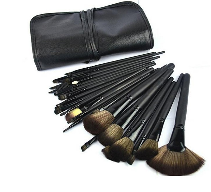 Professional 32 PCS Cosmetic Facial Make up Brush Kit Wool Makeup Brushes Tools Set With Black Leather Case professional 32 pcs cosmetic facial make up brush kit wool makeup brushes tools set with black leather case yo v2