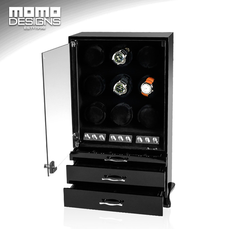 Automatic watch winder 9 JAPAN mabuchi motor Core winder LUXURY watch string winder box cabinet wood ultra luxury 2 3 5 modes german motor watch winder white color wooden black pu leater inside automatic watch winder