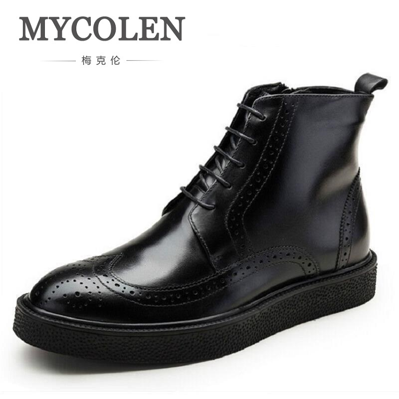 MYCOLEN Handmade Cow Leather Boots Men Winter Shoes Luxury Designer Footwear High Quality Autumn Ankle Adult Men Boots
