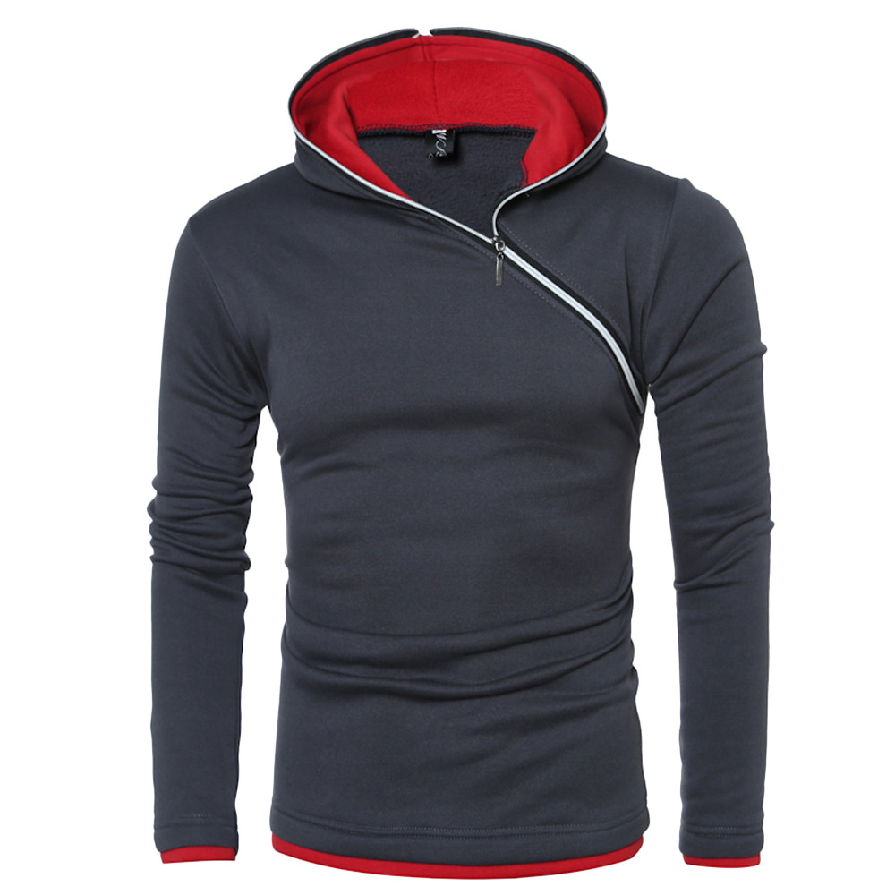 Fengguilai Sweatshirt Mens Autumn Winter Casual Zipper Solid Hooded Tops  Men's Pullover Warm Top Outdoor Sport Coat