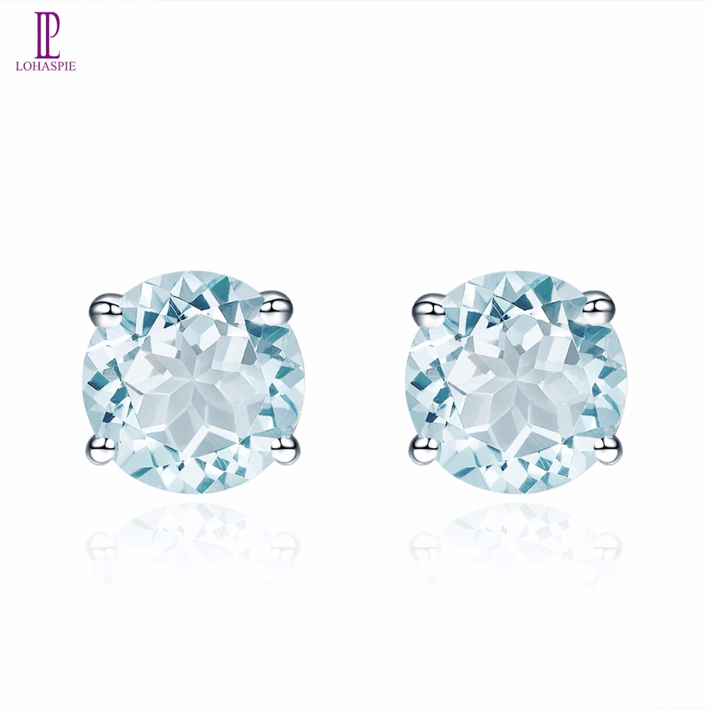 купить Natural Gemstone Aquamarine White Gold Stud Earrings Solid 14K Fine Fashion Round 5.0mm Stone Jewelry For Women's Gift Lohaspie по цене 8367.77 рублей