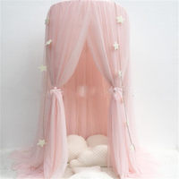 Pink Princess Hanging Kid Bedding Round Dome Bed Canopy Mosquito Net Curtain Home Bed Crib Tent Hung Dome Two Layer of Net Yarn