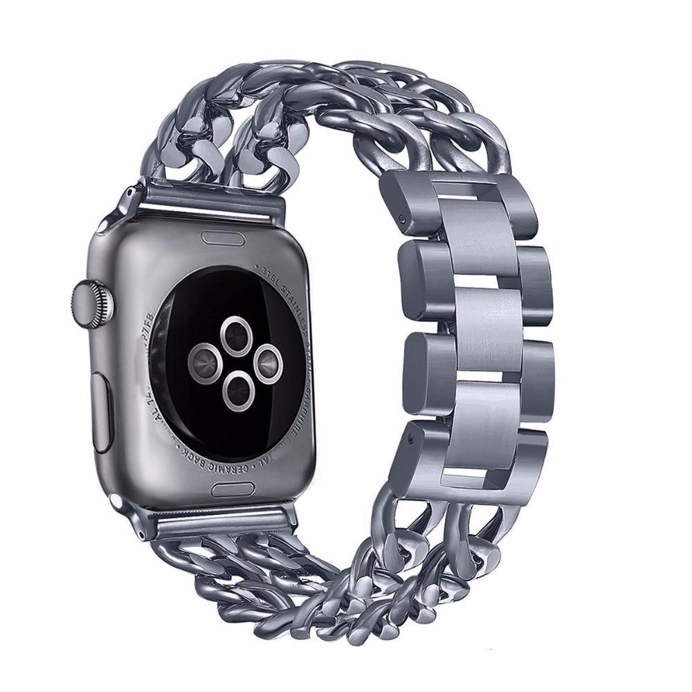 Lüks paslanmaz Çelik Metal Watch Band Apple İzle Serisi 1 ve Series2 için 38mm Yedek kayış ve Series3 38mm 42mm
