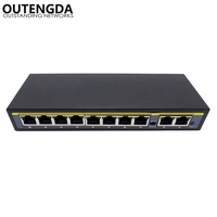 8+2 Ports PoE Switch 10/100Mbps Power over Ethernet Injector Switch with External Power Supply Adapter for Camera AP VoIP
