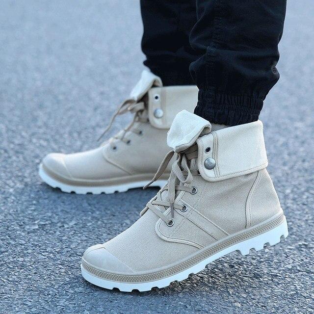 Хип-хоп Палладия Стиль Мода Осень высокие Военные Ботинки Удобные холст Обувной моды Сапоги
