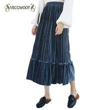 Sólido elástico de la cintura falda Otoño Invierno 2019 nueva Alta cintura  de terciopelo de oro 7a5b338fe8ec