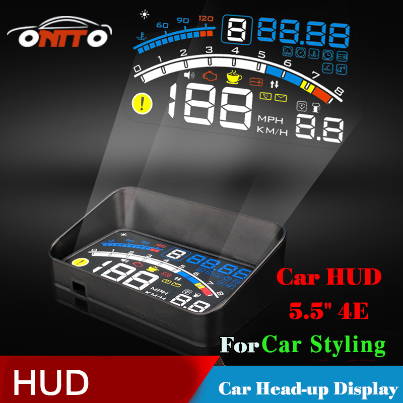 Interior Lighting 4E Auto 5.5 HUD Head Up Display Windscreen Projector OBD II EUOBD Car Data Diagnosis rastp m9 hud 5 5 inch head up windscreen projector obd2 euobd car driving data display speed rpm fuel consumption rs hud011