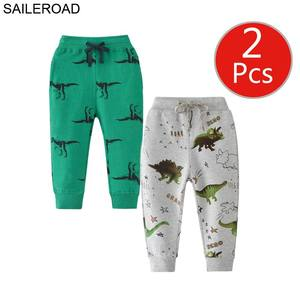 Image 5 - SAILEROAD 2pcs Cartoon Hug Me Dinosaur Pants Kids Boys Fall Clothes Children 7 Year Kids Sweatpants Warm Pants for Boy Trousers