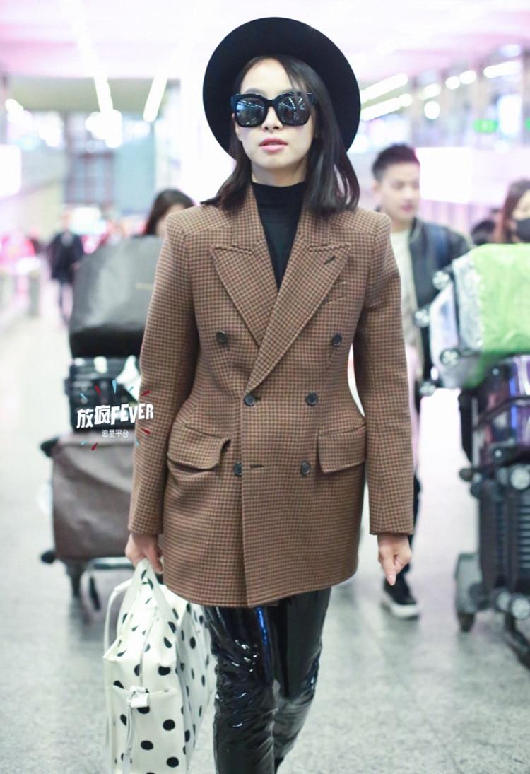 LKGHULO Vintage Anzug Jacke Elegante Formale Casual Mantel frauen Plaid Blazer Geometrische W274 - 2