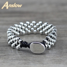 Anslow New Design Creative Brand Top Quality Fashion Jewelry Strand Silver Beads Leather Bracelet Bangles Best Friend LOW0645LB