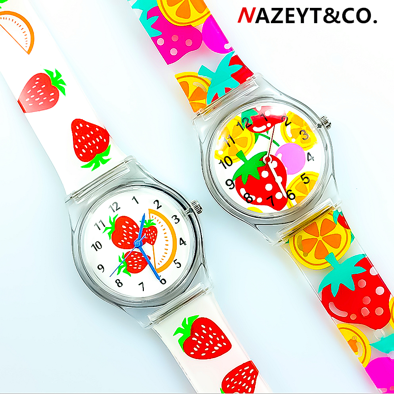 Nazeyt  Women Girls Strawberry Dial Lovely Fruit Ladies Hands Watch Luxury Brand Children Sports Waterproof Silicone Jelly Clock