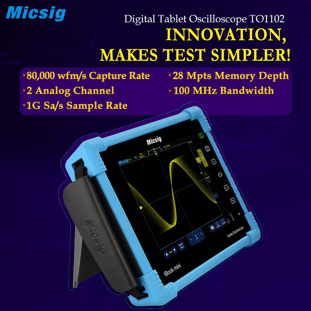 2017 Digital Tablet Oscilloscope TO1102 100MHz 2CH 1G Sa/s real time sampling rate Oscilloscope automotive Oscilloscopes kit hantek 6104bd 4ch usb pc oscilloscopes 100mhz oscillograph with 1gsa s real time sampling rate