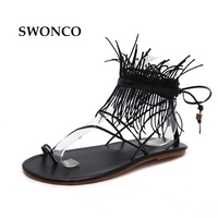 SWONCO Women S Sandals 2018 Summer Cross Tied Shoes Gladiator Sandals Women Flat Shoes Fashion Tassel