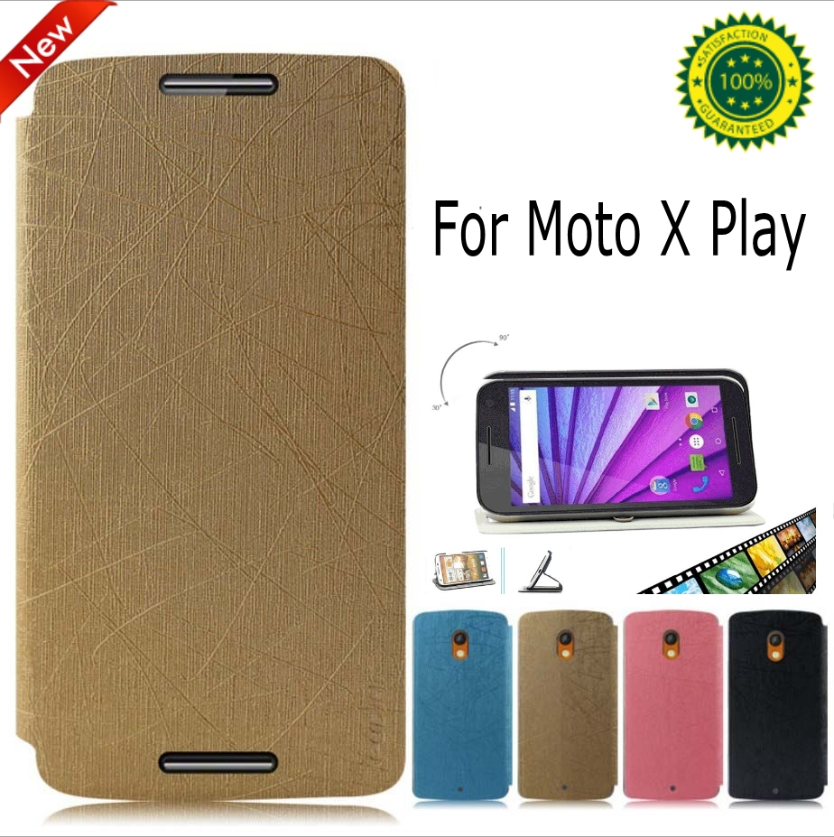 New Arrival Protective Flip PU Leather stand Cover Case for Motorola Moto X Play XT1562 with Screen Film and pen