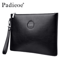 Padieoe Genuine Leather Business Men Day Clutches Bag Large Capacity Envelope Men Handbags For Phone Casual