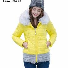 Snowshine #3001 Женщины Зима Короткие Пальто Куртки Проложенный С Капюшоном Меховой Воротник Хлопок Одежда бесплатная доставка