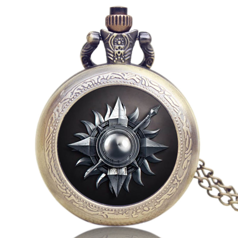 Commemorative Pocket Watch American Drama Game Of Thrones House Martel Theme Glass Dome Watches Women Pocket Watch Chains
