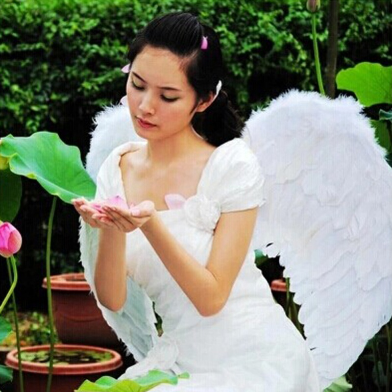 Baby Kids Beautiful White Angel Wings Feather for Party Decoration For Photos