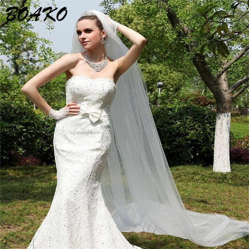 BOAKO 2 メートルエレガントのウェディングベール 1 層シンプルチュールブライダルベールホワイトアイボリー Velos デ · ノビア格安結婚式のアクセサリー