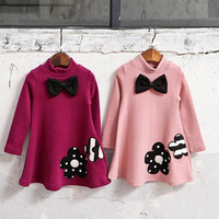 2017 Winter Girls Dress Thicken Girls Warm Cotton A Letter Dress Kids Cute Style Comfortable Material