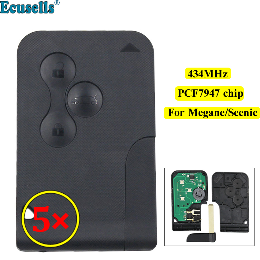 5pcs lot Smart card 3 Button Remote key 434Mhz PCF7947 Chip for Renault Megane Scenic with