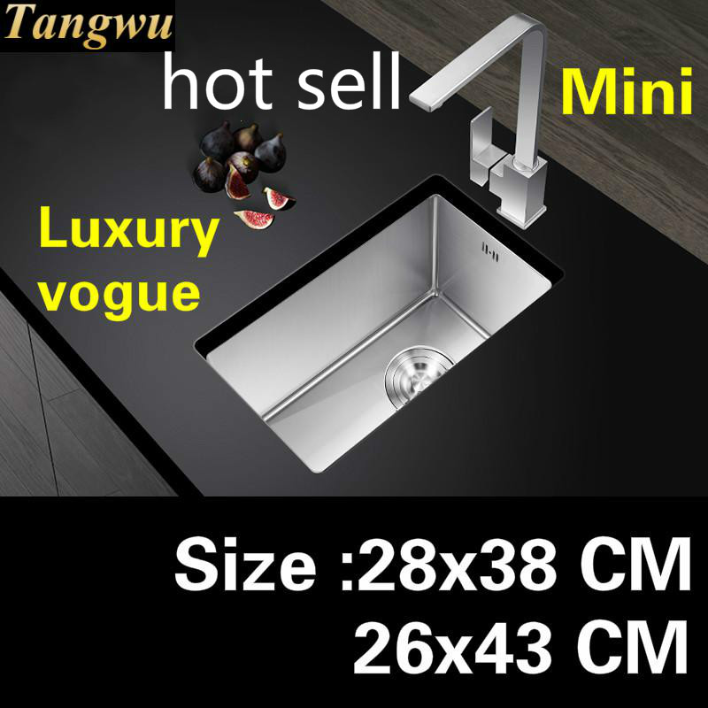 Free Shipping Apartment High Quality Kitchen Manual Sink Single Trough Small 304 Stainless Steel Luxury Hot Sell 28x38/26x43 CM