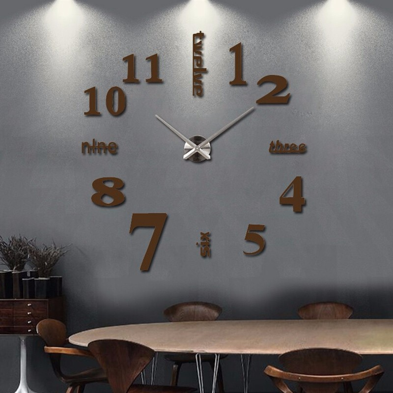 16 new arrival Quartz clocks fashion watches 3d real big wall clock rushed mirror sticker diy living room decor free shipping 10
