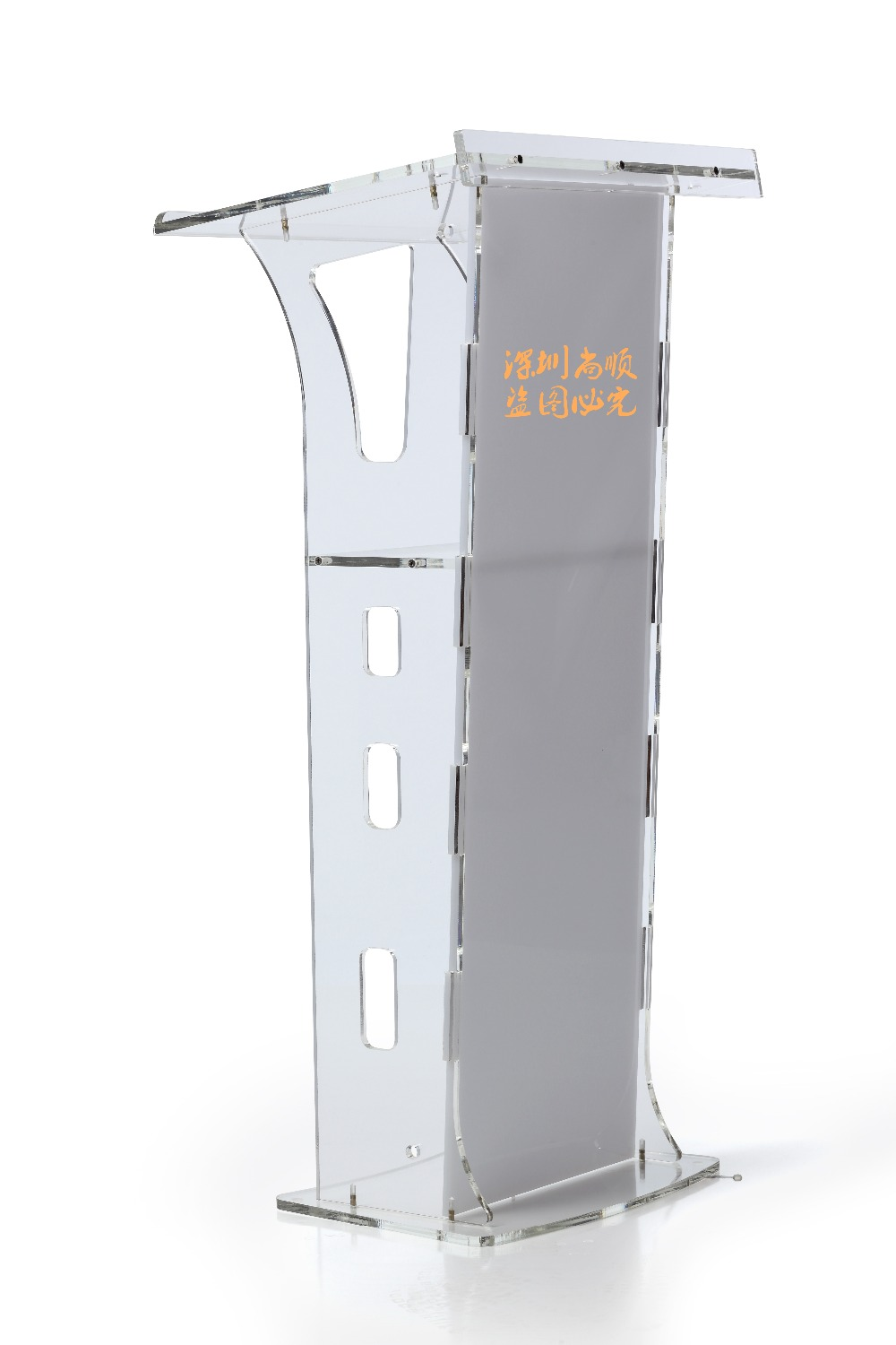 High Polished Clear Modern Acrylic Podium (Without Microphone) Plexiglass