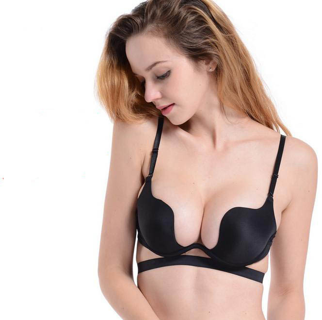 Deep U Low Cut Push Up women lingerie bra Backless Invisible ...