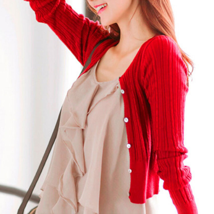 Free shipping 2017 New women s Korean autumn sweater cardigan Women Slim waist round neck short