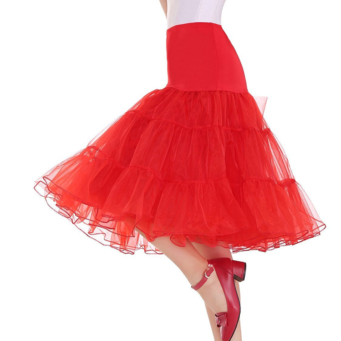 Plus Size Volie Rockabilly Petticoat Skirts Women Midi Tutu Vintage Underskirts Half Slips Crinoline Femme Saias 50s Party Prom