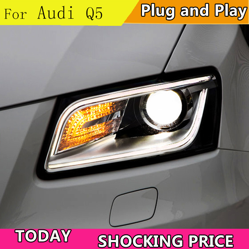 doxa Car Styling for Audi Q5 Headlights 2013 2015 Q5 LED Headlight DRL Lens Double Beam