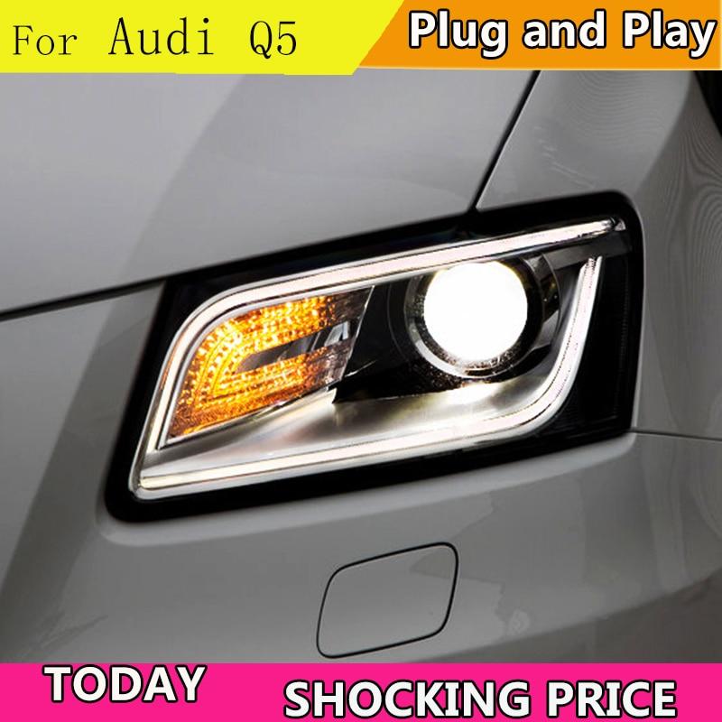 Style de voiture pour Audi Q5 phares 2013-2015 Q5 phare LED DRL lentille Double faisceau H7 caché xénon bi xénon lentille